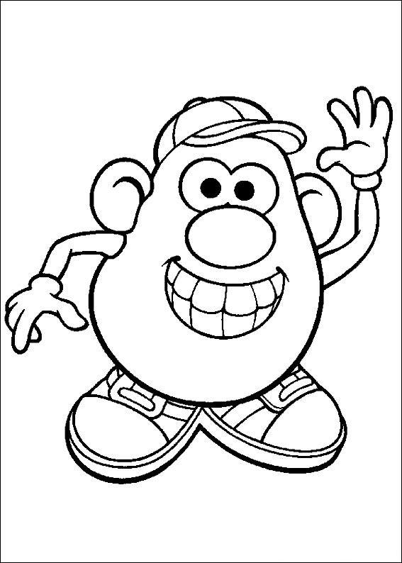 567x794 Mr Potato Smiles Free Coloring Page Disney, Kids, Toy Story