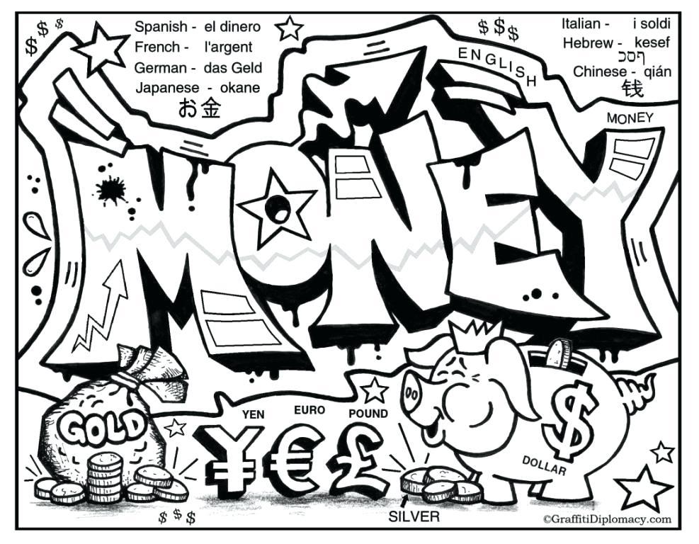 987x768 Dollar Coloring Page Drawn Graffiti Coloring Page Dollar