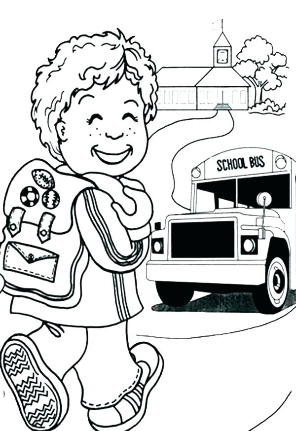 600x874 A Preschool Girl Student On Her First Day Of School Coloring Page