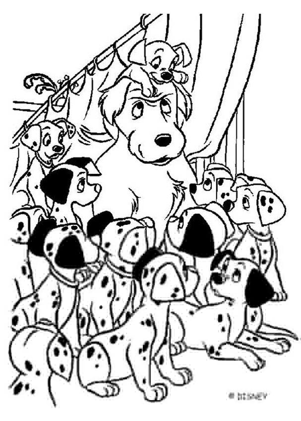 607x850 Color This Adorable Dalmatians Coloring Page Of All The Babies