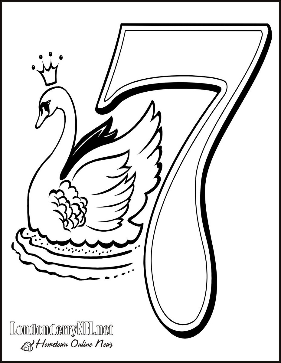 929x1200 Seven Swans A Swimming Coloring Page Days Of Christmas