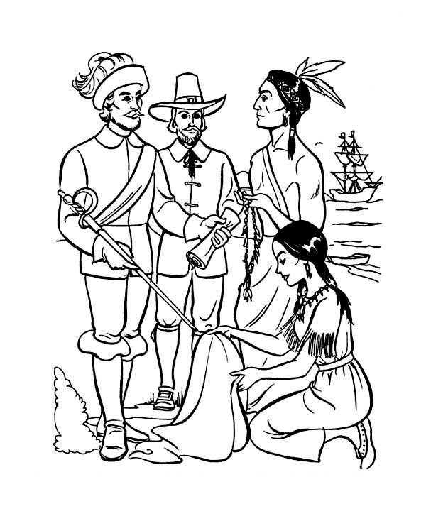 600x734 Early Pilgrim Plymouth Colony Thanksgiving Day History' Coloring