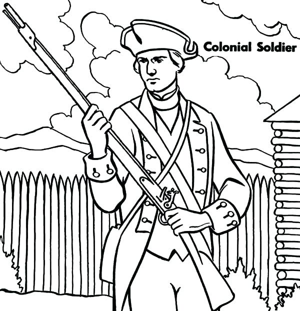 600x622 Military Colonial Soldier Coloring Pages Color Free Coloring