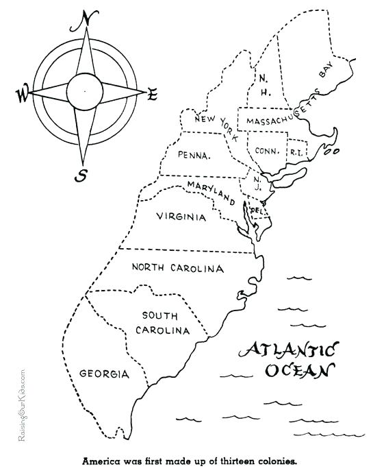 564x690 Thirteen Colonies Coloring Page Colonies Coloring Pages