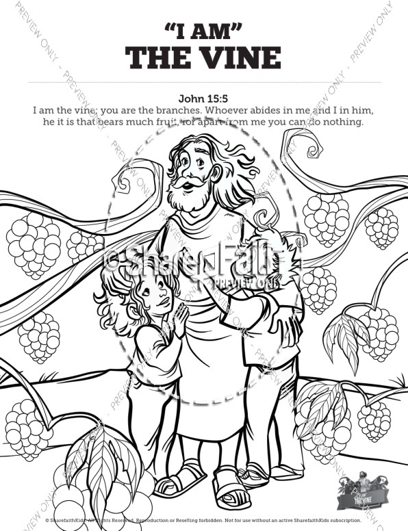 596x776 John I Am The Vine Sunday School Coloring Pages Sunday School