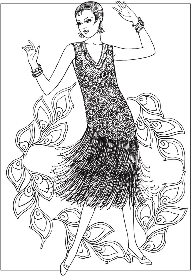 650x941 Creative Haven Jazz Age Fashions Coloring Book