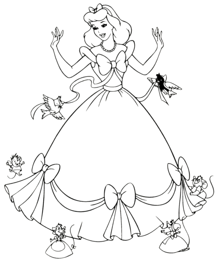 734x875 Free Printable Cinderella Coloring Pages For Kids