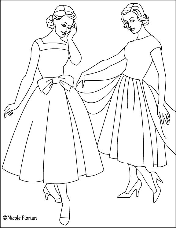576x744 Nicole's Free Coloring Pages Vintage Fashion Coloring Pages