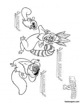 262x338 Printable Madagascar King Julian Maurice And Mort Coloring Page