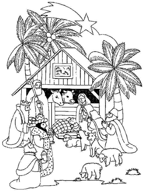 600x769 The Nativity Of Jesus And Three Kings Coloring Pages Batch Coloring