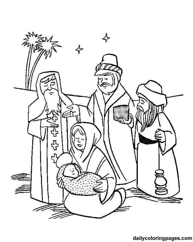 640x804 Three Kings Coloring Page