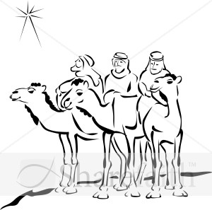 300x297 Woodcut Style Three Wise Men Epiphany Clipart