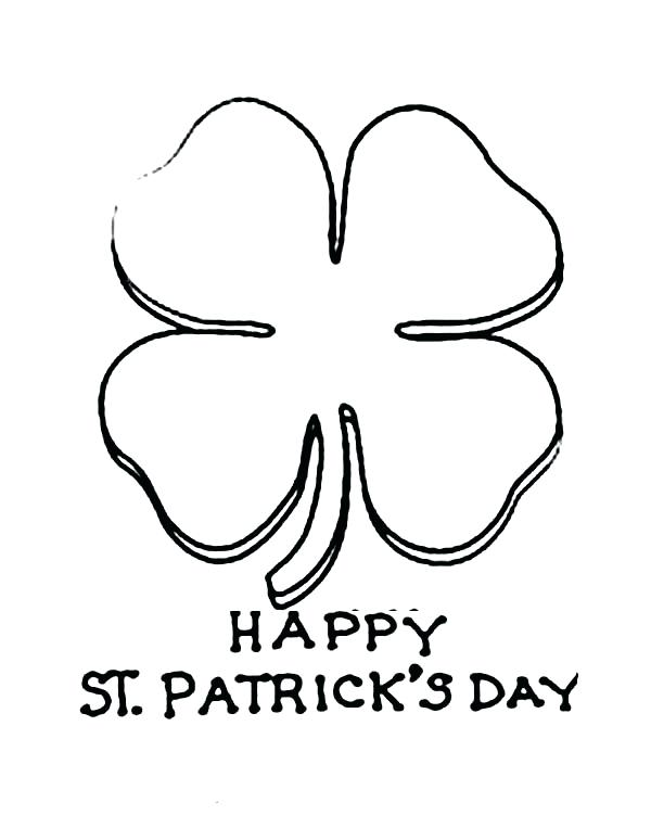 600x763 Four Leaf Clover Coloring Pages Celebrating St Day With Four Leaf