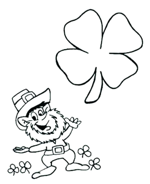 600x735 Four Leaf Clover Coloring Pages Kids Drawing Of Four Leaf Clover