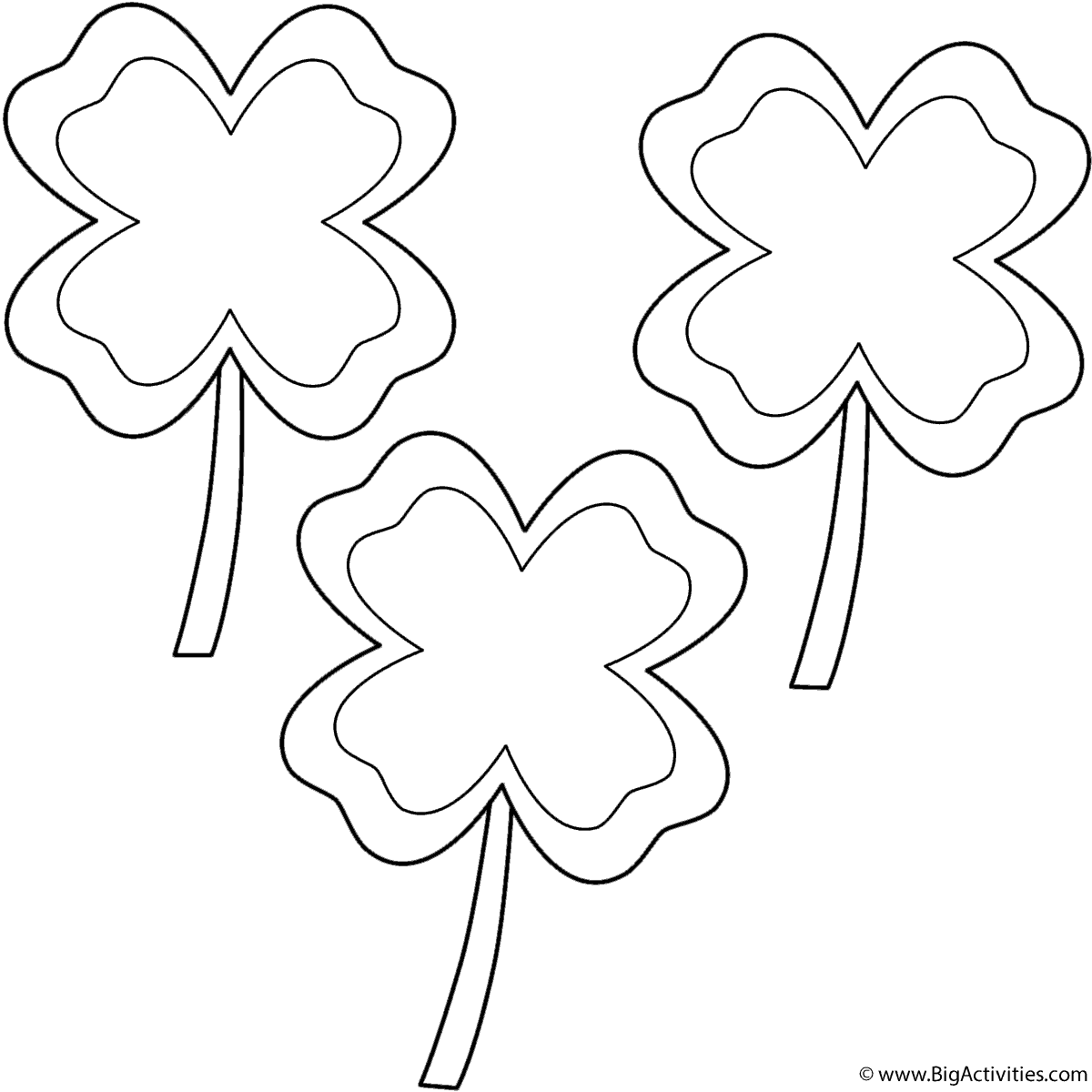 1200x1200 Four Leaf Clovers With Border