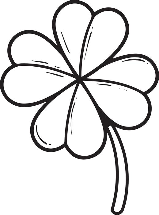 519x700 Four Leaf Clover Coloring Pages Free Printable Four Leaf Clover