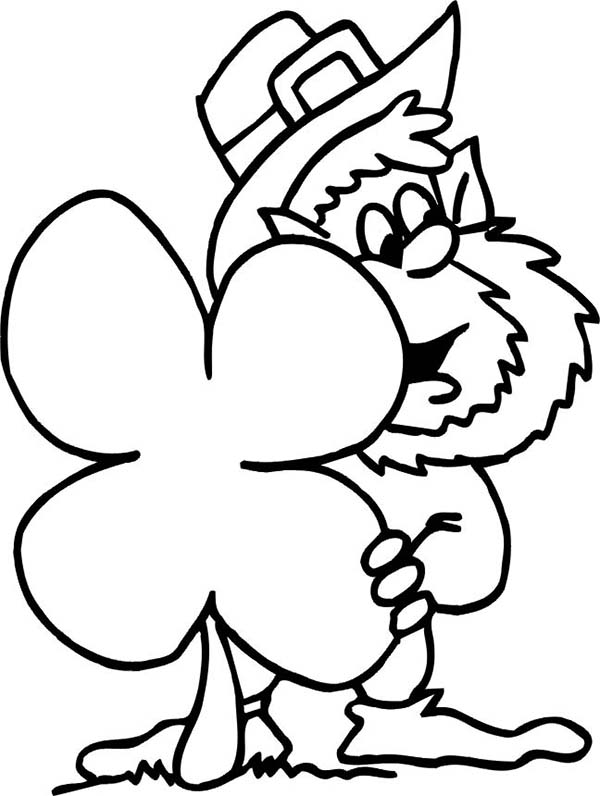 600x796 Funny Leprechaun Hidding Behind Giant Four Leaf Clover Coloring