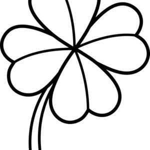 300x300 Rare Four Leaf Clover On Common Three Leaf Clovers Coloring Page