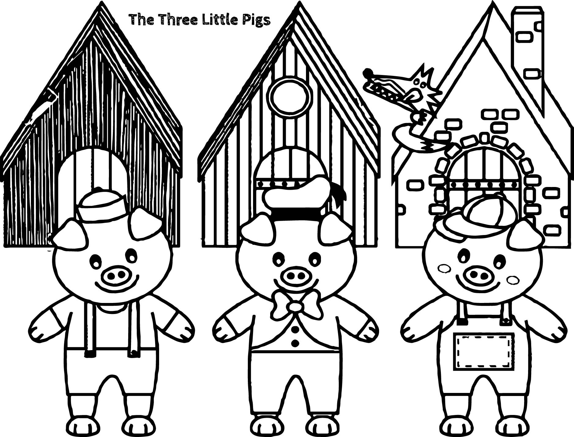 1876x1428 The Three Little Pigs Coloring Pages Free Draw To Color Inside Pig