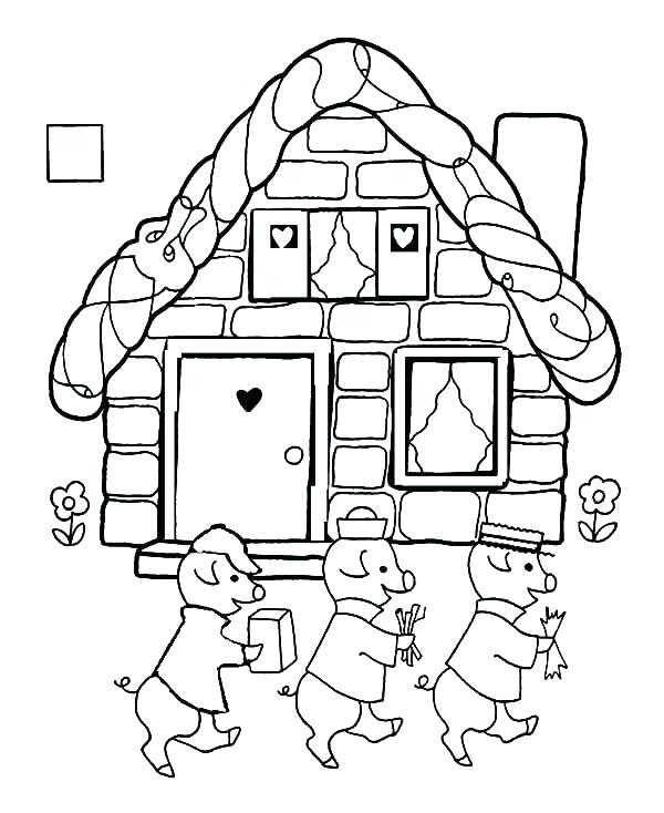 600x734 Three Little Pigs Colouring Pages Free The Three Little Pigs