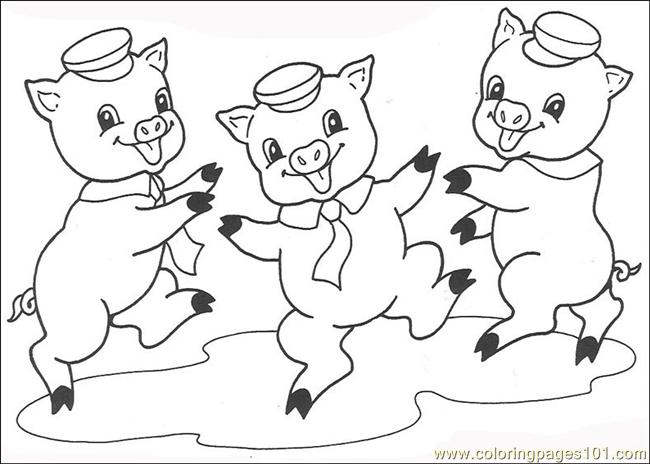 650x464 Free Printable Coloring Image The Three Little Pigs Three