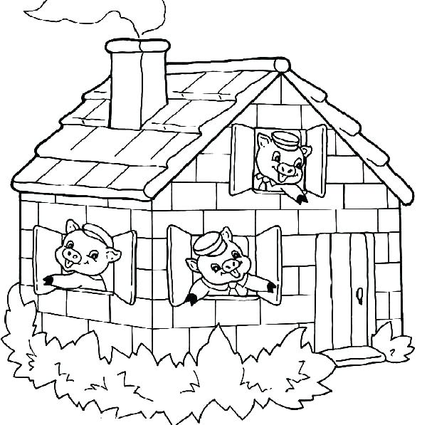 600x597 Little Pigs Coloring Pages Three Little Pigs Coloring Sheets