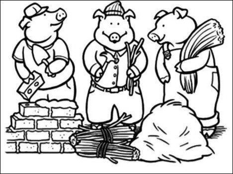 469x351 Coloring Pages And Coloring Books Little Pigs Coloring Page