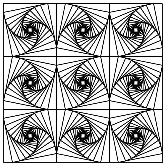 564x564 Optical Illusions Adult Coloring Pages