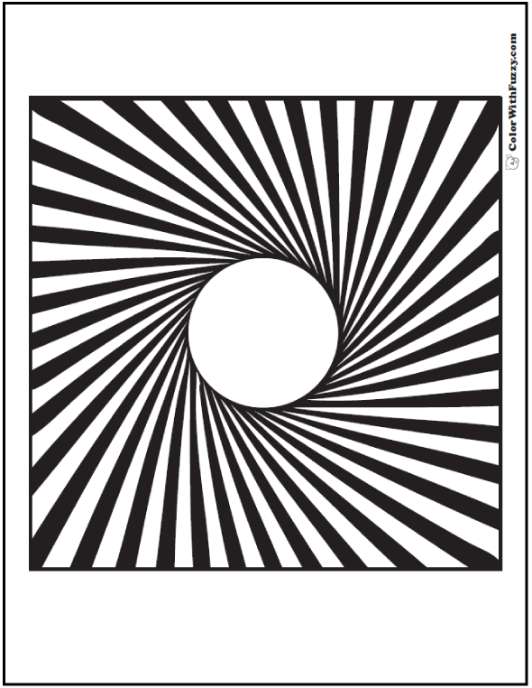590x762 Illusion Geometric Coloring Pages Circle To Square