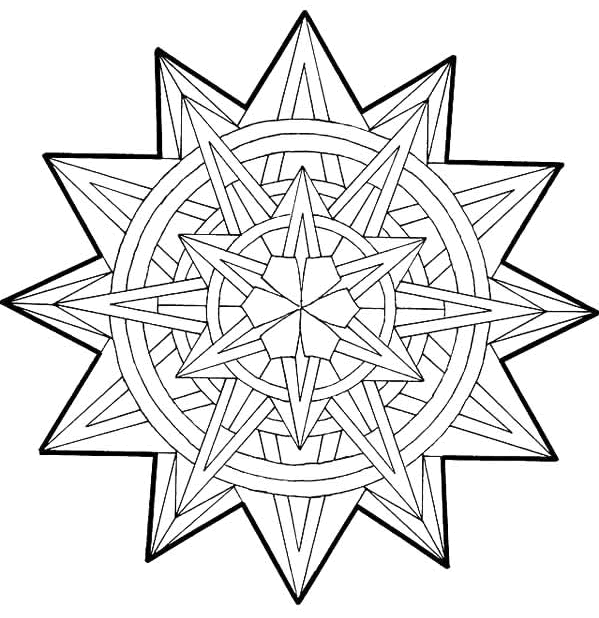 599x618 Geometric Patterns Coloring Pages