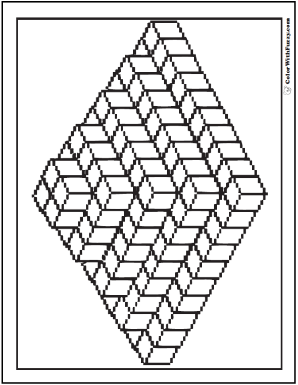 3d Geometric Coloring Pages