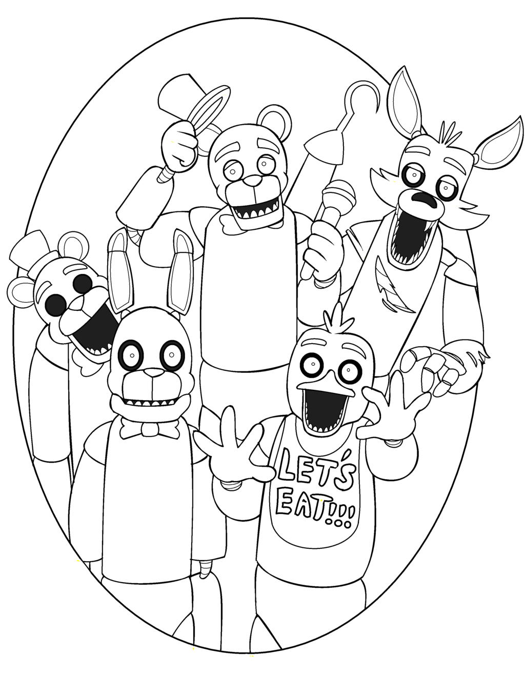 1024x1314 Announcing Fnaf Coloring Pages All Character