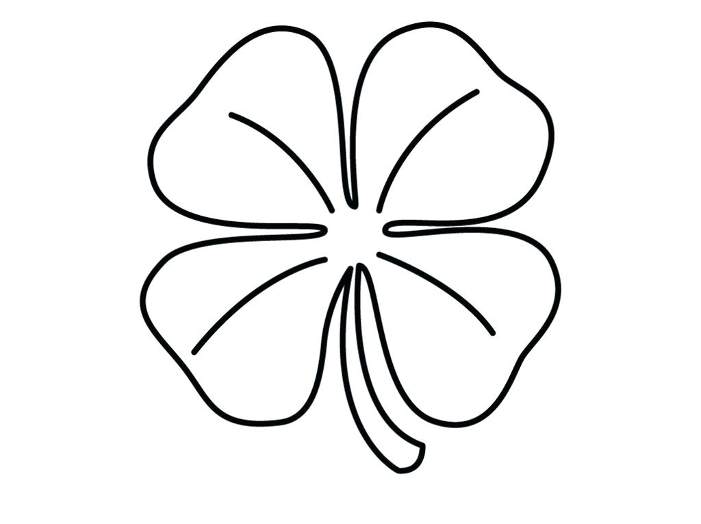 1024x765 Clover Coloring Pages Printable Four Leaf Clover Coloring Pages