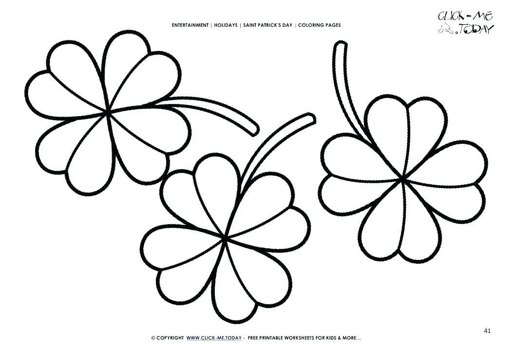 1053x745 Four Leaf Clover Coloring Page Clover Coloring Page Free Printable