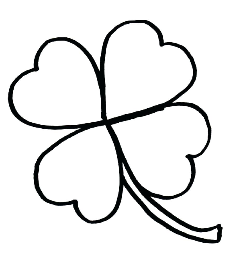 929x1024 Four Leaf Clover Coloring Page For Color