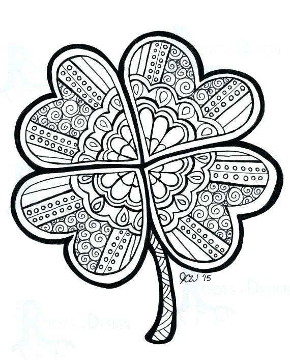 570x713 H Clover Coloring Sheet Small Four Leaf Clover Coloring Pages