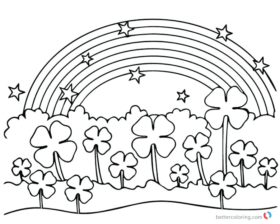 900x720 Free Printable Four Leaf Clover Coloring Pages Three Page