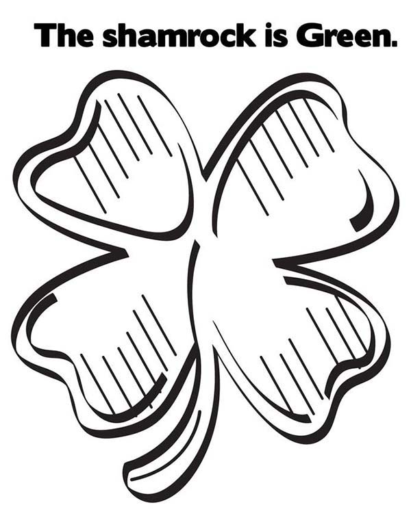 600x776 Green Shamrock Or Four Leaf Clover Coloring Page