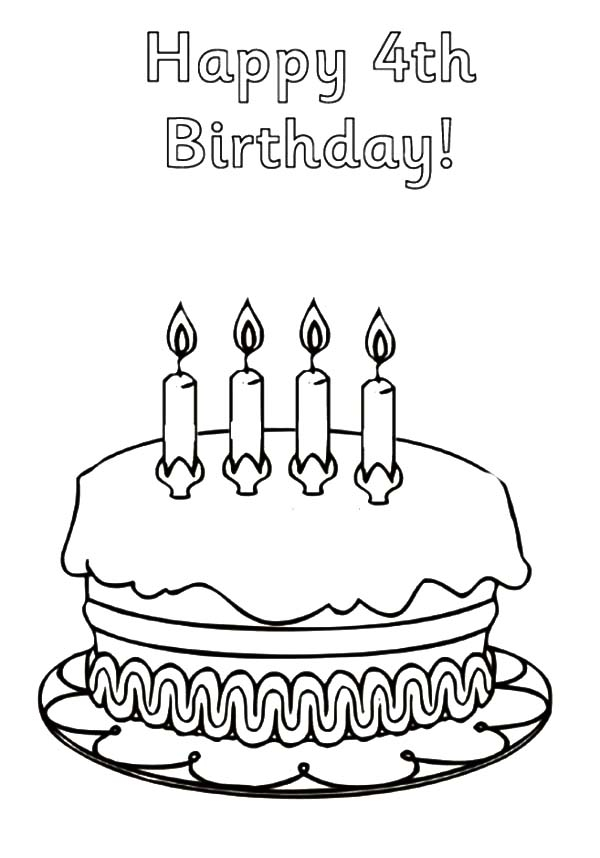 600x858 Happy Birthday Coloring Pages Birthday Cake For Fourth