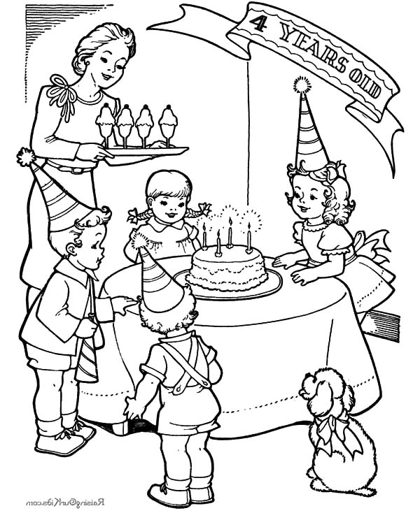600x734 Drawing Pictures Of Birthday Party Little Girl Fourth Birthday