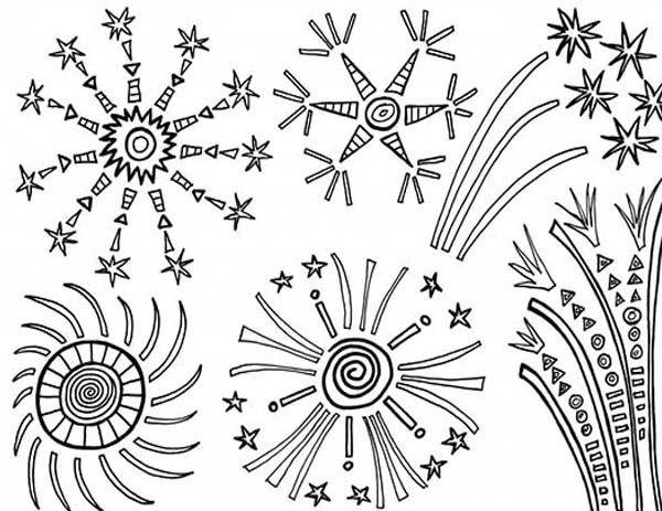 600x463 Amazing Of July Fireworks Coloring Page