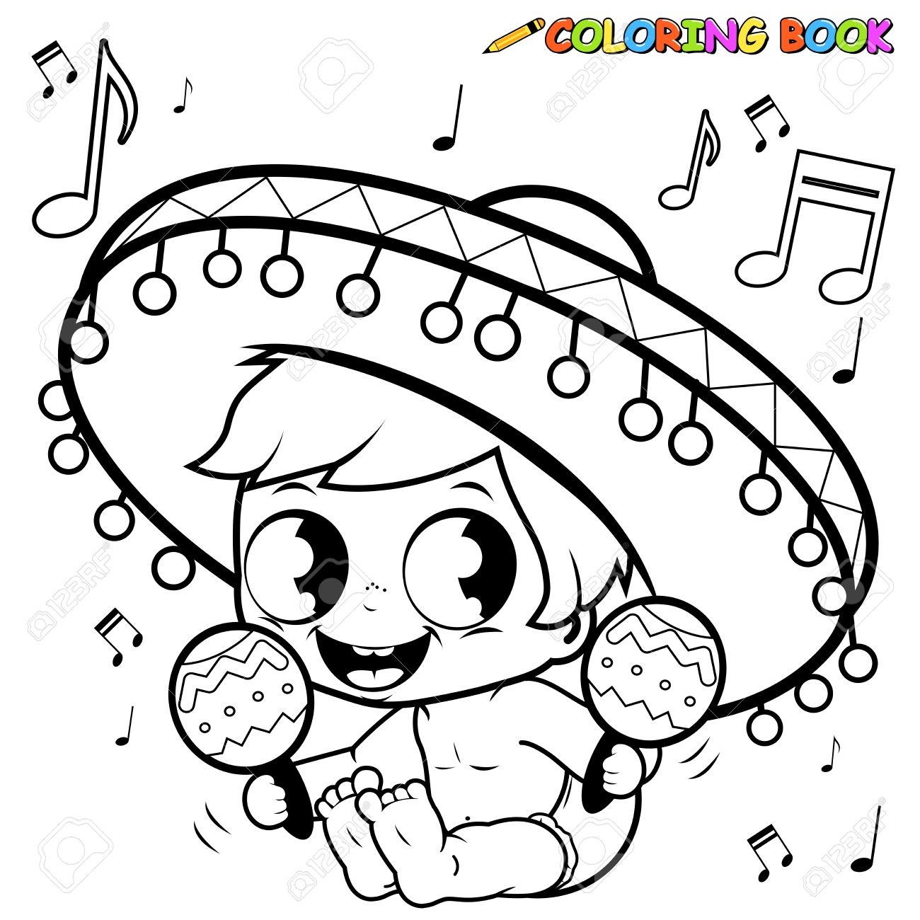 1300x1300 New Mariachi Baby Boy Playing The Maracas Coloring Page Royalty