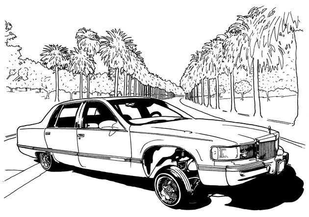 630x444 Lowrider Car Coloring Pages