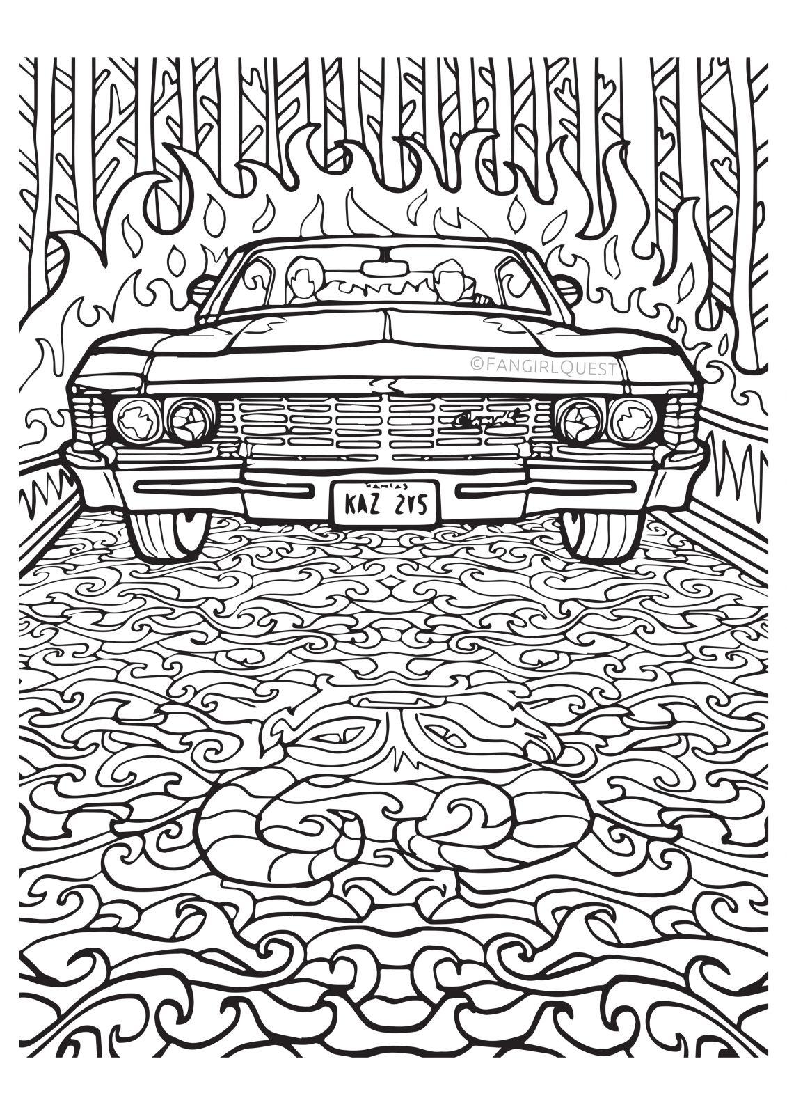 1131x1600 Supernatural Coloring Images Impala