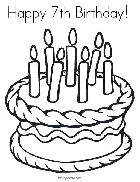 468x605 Happy Birthday Coloring Page