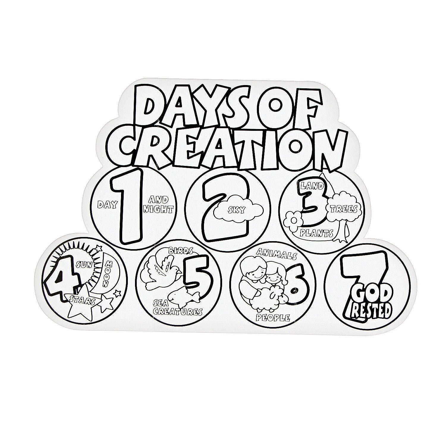 1500x1500 Days Of Creation Coloring Pages Qqa Me At Free Printable