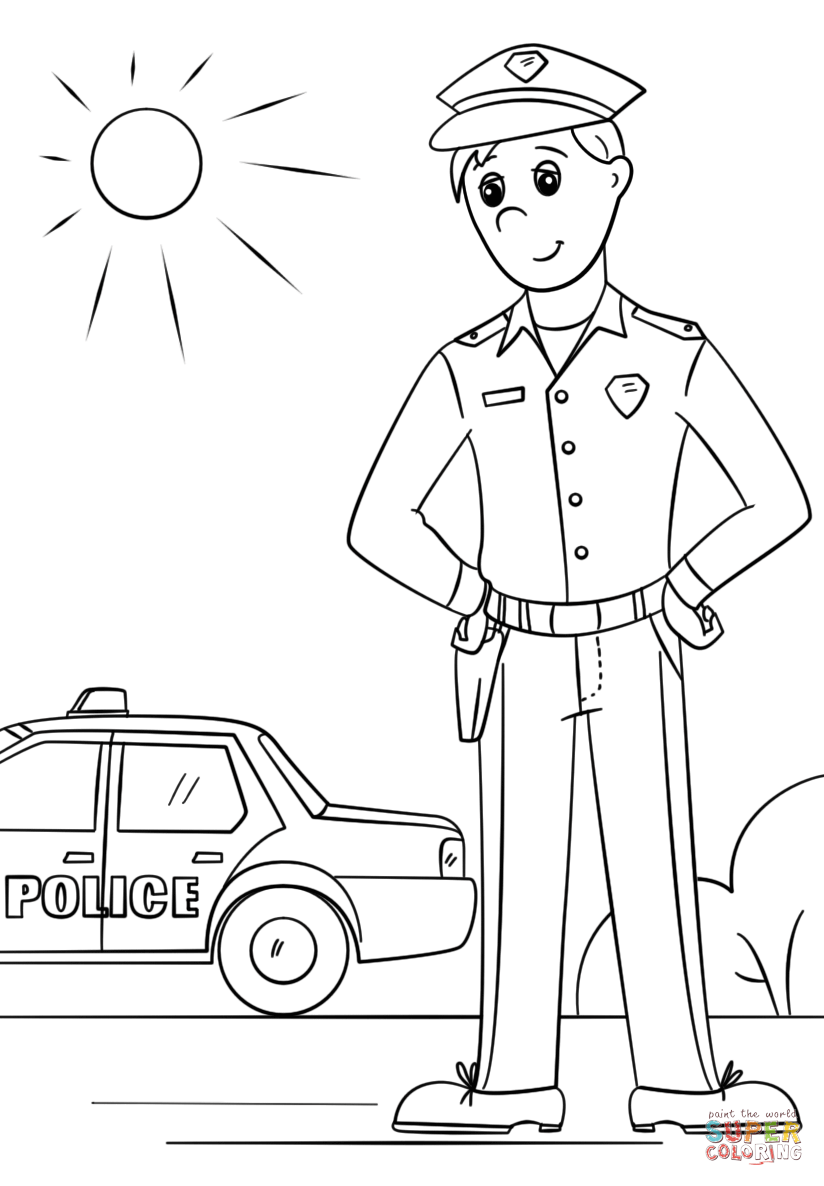 824x1186 Captivating Police Coloring Pages For Preschoolers Car Truck Dog