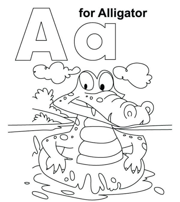 600x672 Coloring Page Alligator A Coloring Pages Letter A Coloring Pages