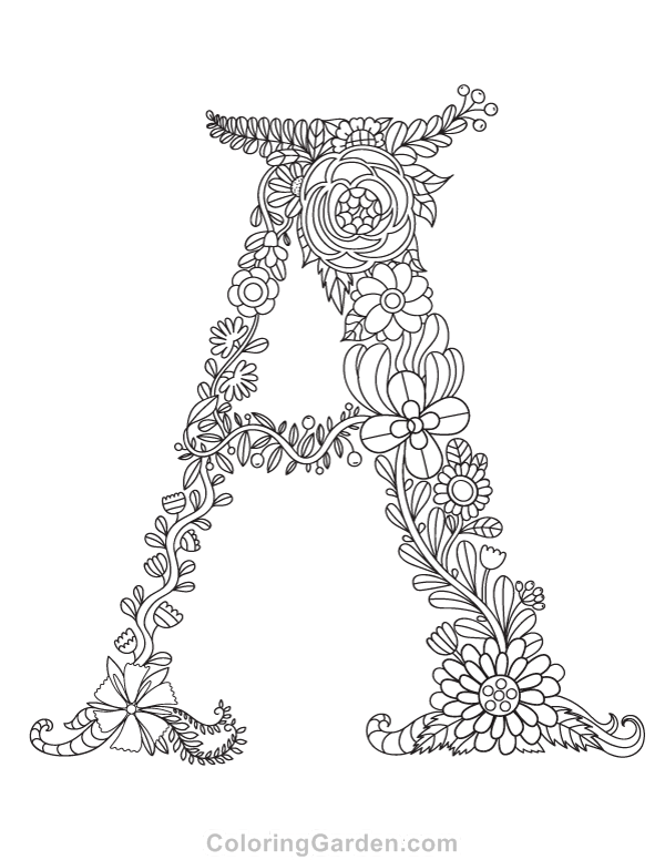 600x776 Free Printable Floral Letter A Adult Coloring Page Download It