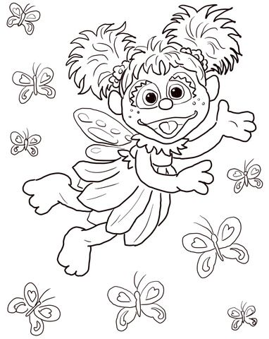 382x480 Abby Cadabby Flying With Butterflies Coloring Page From Sesame